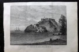 ILN 1880 Antique Print. H. M. S. Bacchante off Fort George, Grenada. Spain